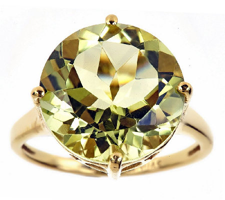 Sterling & 14K Gold-Plated 7.00 cttw Lime Quartz Ring