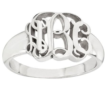 Sterling Polished Script Monogram Ring