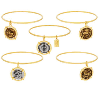 The Elizabeth Taylor Set of 5 Goldtone Coin Charm Bangles - J319832