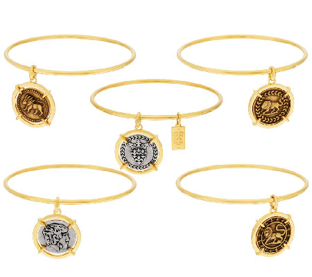 The Elizabeth Taylor Set of 5 Goldtone Coin Charm Bangles