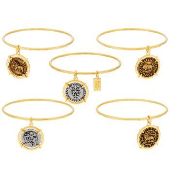 The Elizabeth Taylor Set of 5 Goldtone Coin Charm Bangles