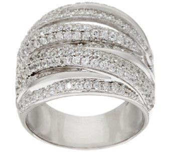 Vicenza Silver Sterling 1.80 cttw Diamonique Crossover Ring - J320432