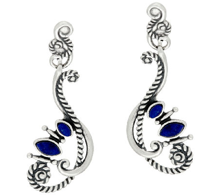 Sterling Silver Lapis Drop Earrings by American West