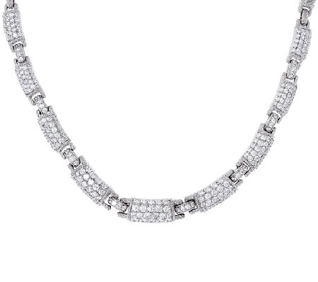 Judith Ripka Sterling 10.0 cttw Pave' Diamonique Link Necklace