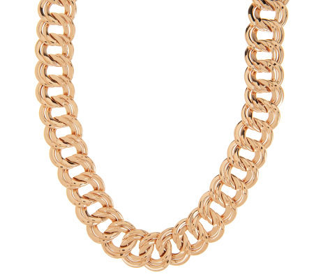 """As Is"" Bronzo Italia 20"" Polished Double Curb Link Necklace"
