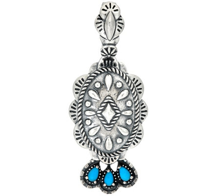 Sterling Silver Concha Design Turquoise Enhancer by American West