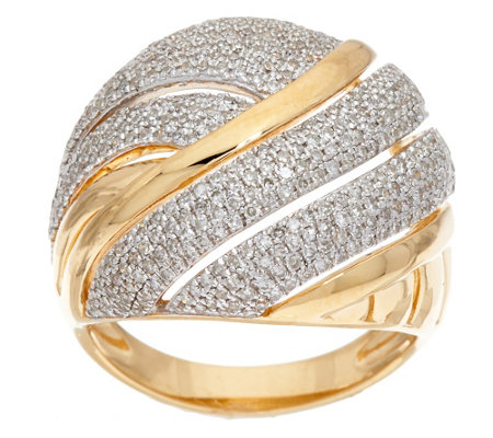 """As Is"" Micro- Pave' Domed Diamond Ring, Sterling 1 cttw by Affinity"