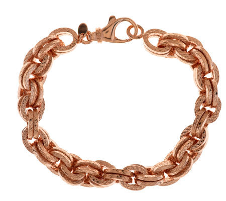 """As Is"" Bronzo Italia 7-1/4"" Textured Double Rolo Link Bracelet"