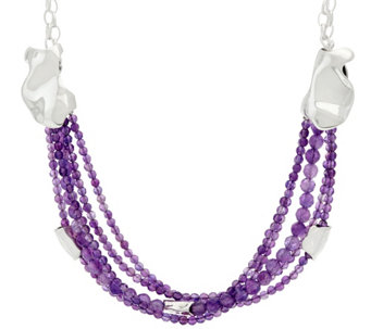 Hagit Sterling Silver Amethyst Bead Necklace - J328232