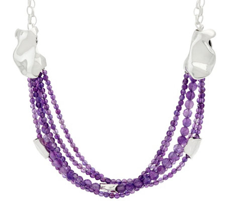 Hagit Sterling Silver Amethyst Bead Necklace