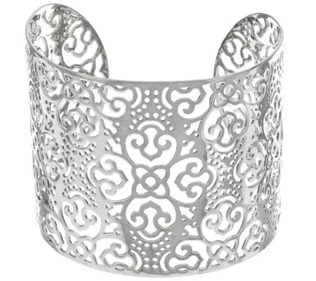 """As Is"" Sterling Silver Polished Open Work Wide Cuff by Silver Style"