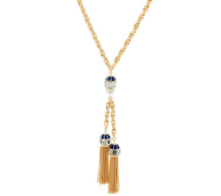 "C. Wonder 28-1/4"" Rope ""Y"" Necklace with Double Tassel Station"