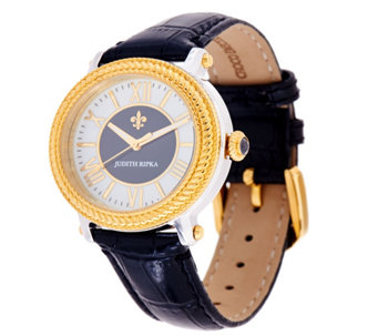 Judith Ripka Two-tone Diamonique Stainless Steel & Leather Watch - J329332