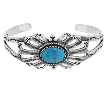 """As Is"" Oval Turquoise Sterling Silver Cuff by American West - J329932"