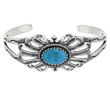 """As Is"" Oval Turquoise Sterling Silver Cuff by American West"