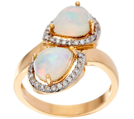 Ethiopian Opal Pear Shaped Bypass Design Ring, 14K Gold 1.30 cttw