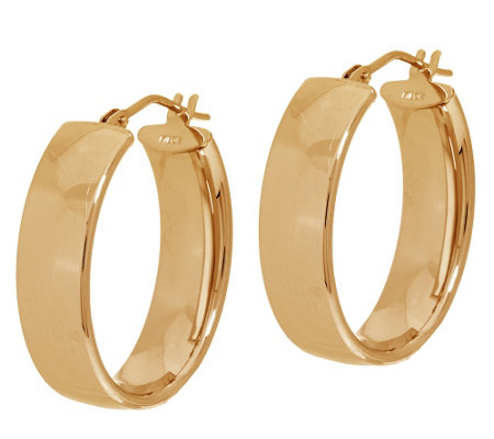 """As Is"" Vicenza Gold Polished Oval Hoop Earrings 14K"