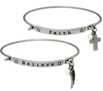 Stainless Steel Set of 2 Inspirational Charm Bangles - J331232