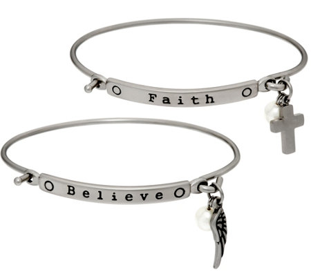Stainless Steel Set of 2 Inspirational Charm Bangles