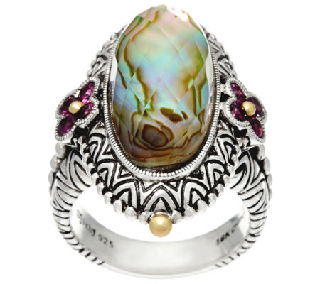 Barbara Bixby Sterling & 18K Abalone Doublet Ring