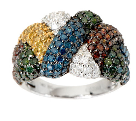 """As Is"" Color Woven Design Diamond Ring, 14K, 2.60cttw by Affinity"