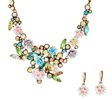 """As Is"" Joan Rivers Language of Flowers Pastel Necklace & Earrings Set"