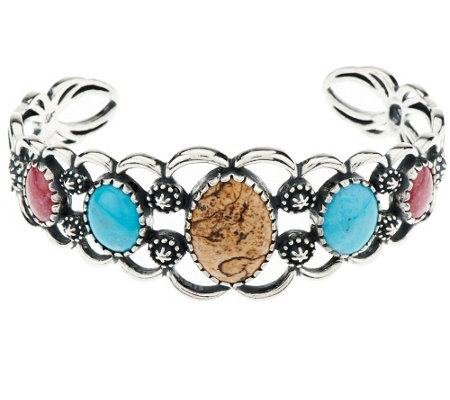 """As Is"" American West Multi-Gemstone Sterling Cuff"