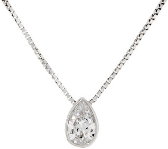 Diamonique Pear Pendant w/ Adjustable Chain, Sterling, Boxed - J333432