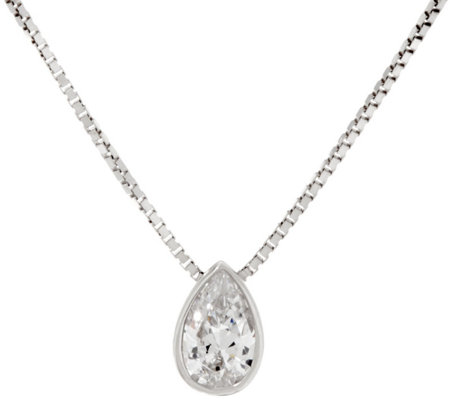 Diamonique Pear Pendant w/ Adjustable Chain, Sterling, Boxed