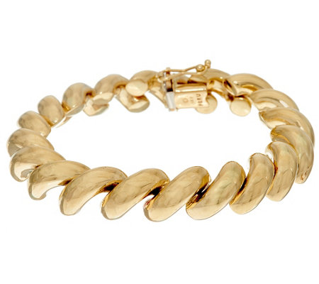 """As Is"" 14K Gold 8"" Polished San Marco Bracelet, 16.0g"
