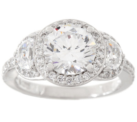 Diamonique Three Stone Halo Ring, Platinum Clad
