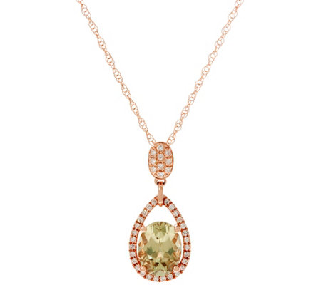 "Oval Csarite & Pave' Diamond Pendant on 18"" Chain, 14K Gold 1.70 ct"
