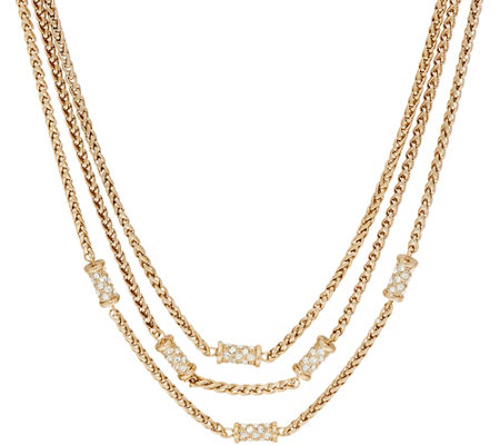 Grace Kelly Collection Triple Row Wheat Chain Necklace