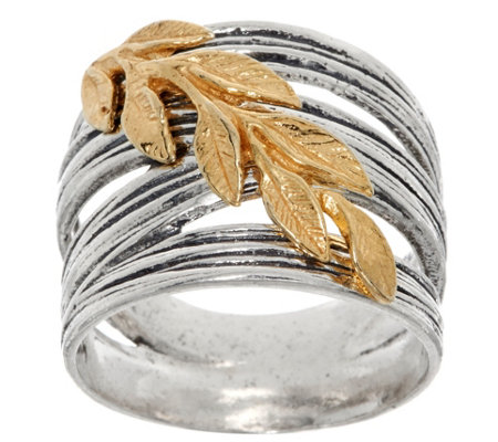 Or Paz Sterling Silver Two-tone Leaf Ring