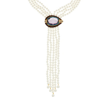 Joan Rivers Joan's Simulated Pearl Evil Eye Necklace