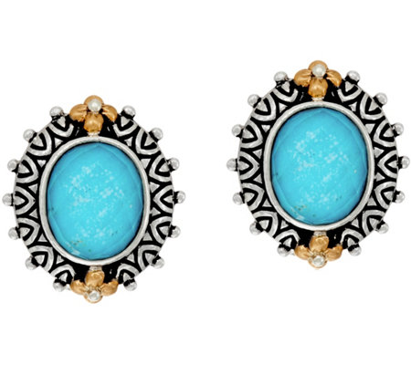Barbara Bixby Sterling & 18K Turquoise Doublet Button Earrings