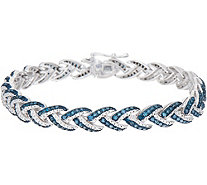"Woven 2.25 cttw Diamond 8"" Tennis Bracelet Sterling, by Affinity - J352032"