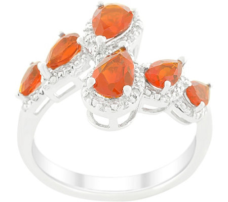 Sterling 1.70 cttw Fire Opal and Diamond Ring