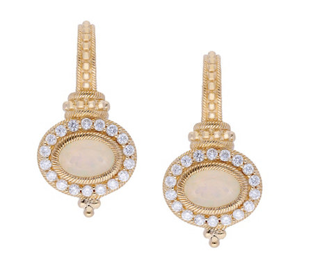 Judith Ripka 14K Gold Opal and Diamond Earrings