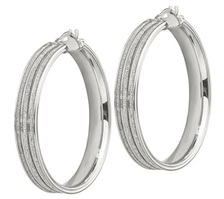 "Italian Silver 1-1/2"" Glitter Channel Hoop Earrings"
