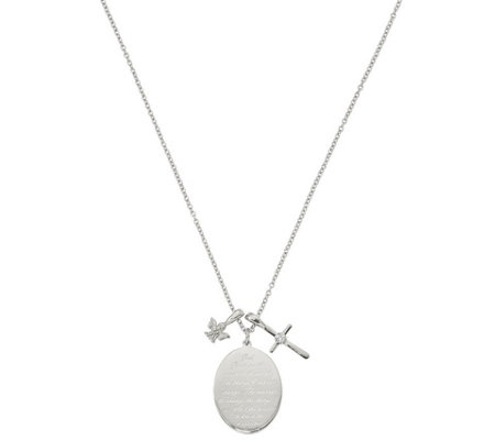 Stainless Steel Serenity Prayer, Cross & AngelPendant w/Chain