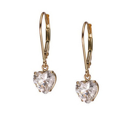Diamonique 2.00 ct tw Heart Lever Back Earrings, 14K Gold