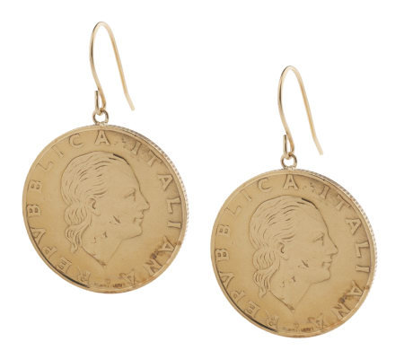 200 Lire Coin Earrings 14K Gold