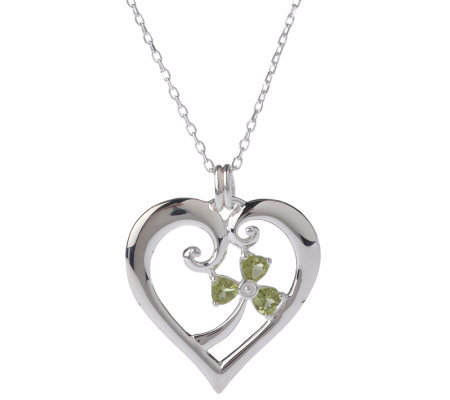 """As Is"" JMH Jewellery Sterling Silver Heart Pendant w/Peridot Charm"