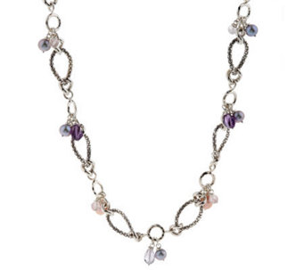 "Michael Dawkins Sterling Multi-Gemstone & Cultured Pear 18"" Necklace - J155533"