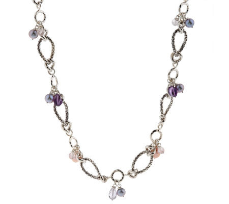 "Michael Dawkins Sterling Multi-Gemstone & Cultured Pear 18"" Necklace"