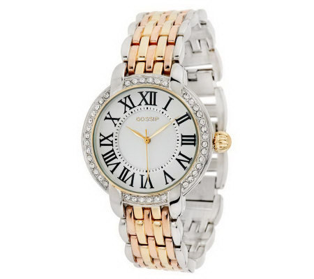 Gossip Highly Polished Bracelet Link Watch with Crystal Bezel