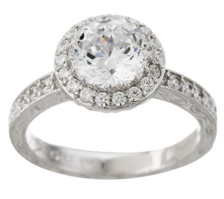 Tacori IV Diamonique Epiphany 2.50 ct tw Halo Bloom Cut Ring