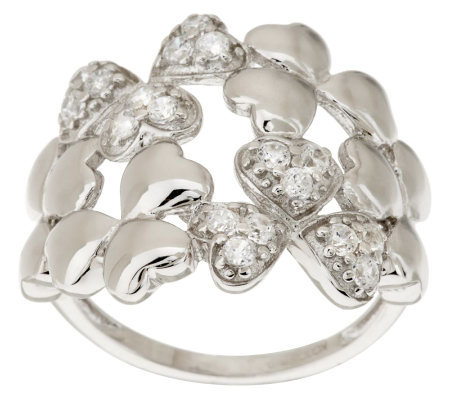 Killarney Crystal Sterling Silver Shamrock Cluster Ring