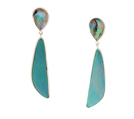 Sterling Abalone Doublet & Turquoise Drop Earrings